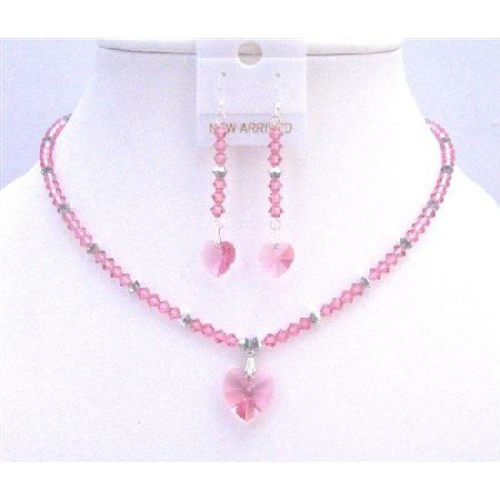 NSC764  Argent Crystals Jewelry Rose Crystals Rose Crystals Heart Pendant Set