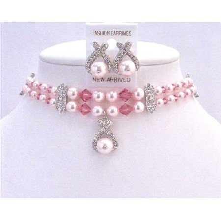 NSC765  Bridal Jewelry Artisan Double Stranded Rose Pearls & Crystals Necklace Set