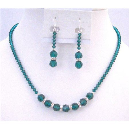 NSC766  Emerald Jewelry Green Crystals Necklace Sparkling Crystals Jewelry Set