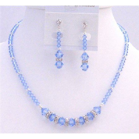 NSC767  Austrian Crystals Artisan Handmade Lite Sapphire Crystals Necklace Set