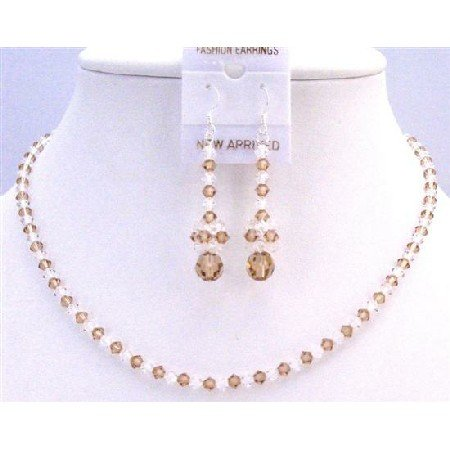 NSC772  Lite Colorado Crystals With Clear Crystals Bridal Wedding Jewelry Set