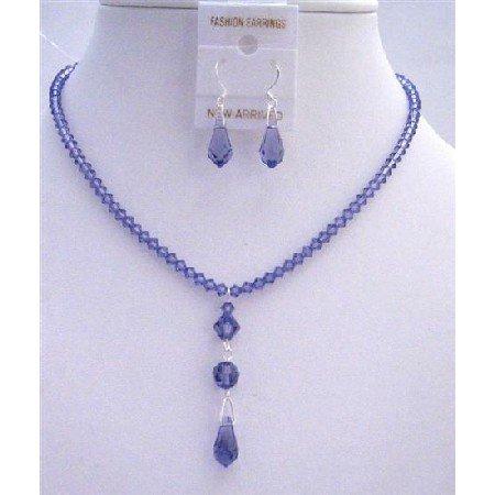NSC773  Tanzanite Crystals Wedding Jewelry Swarovski Tanzanite Teardrop Set