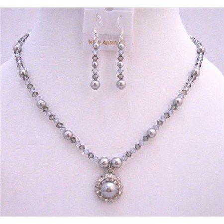 NSC776  Black Diamond & Grey Crystals Bridal Jewelry w/ Flower Pearls Pendant