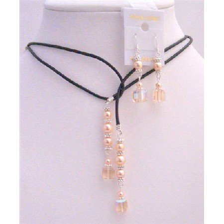 NSC779  Wedding Peach Crystals Peach Pearls Lariat Necklace Sterling Earrings