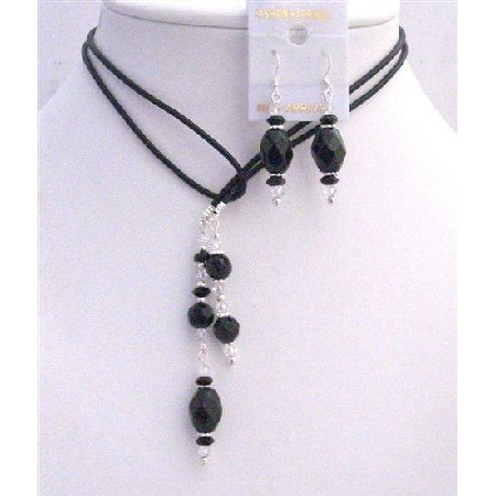 NSC780  Leather Lariat Necklace & Necklace Black Briollete & Clear Crystals Set