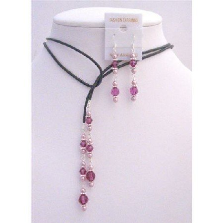 NSC781  Leather Lariat Powder Rose Pearls Fuschia Crystals & Sterling Earrings