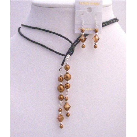 NSC782  Copper Dress Leather Lariat Copper Pearls Crystals Necklace & Earrings