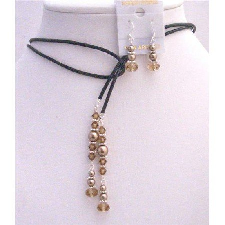 NSC784  Lariat Leather Cord Pearls Jewelry w/ Colorado Crystals Jewelry Set
