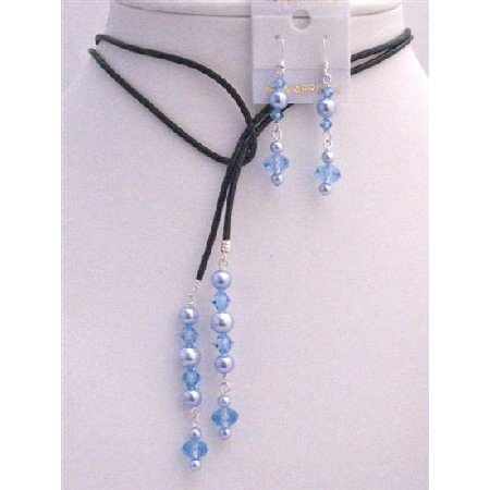 NSC786  Blue Pearls Lariat Aquamarine Crystals Leather Necklace & Earrings Set
