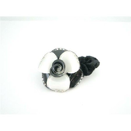 HA524  White & Black Hair Doodle Rubber Band Decorated Black White Crystals
