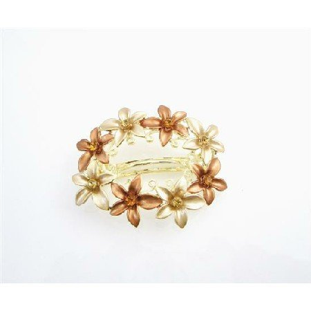HA521  Gold Barrette Champagne & Copper Enamel Flower Wedding Hair Clip