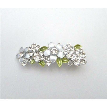 HA512  Perfect Bridal Hair Barrette FLowers In Grey Diamond & White Hair Clip