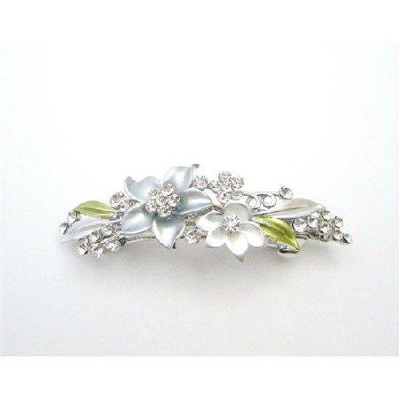 HA510  White & Grey Pastel Enamel w/ Sparkling Crystals Bridemaids Hair Clip