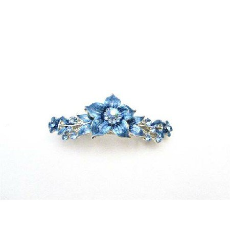 HA513  Elegant Hair Barrette Blue Indigo Enamel Flower Hair Clip Barrette