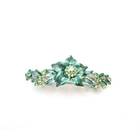 HA514  Peridot Crystals Prom Wedding Hair Barrette Dark Green Flower Barrette