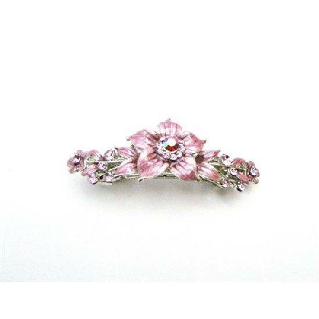 HA515  Affordable Cheap Rose Crystals Pink Enamel Flower Hair Barrette
