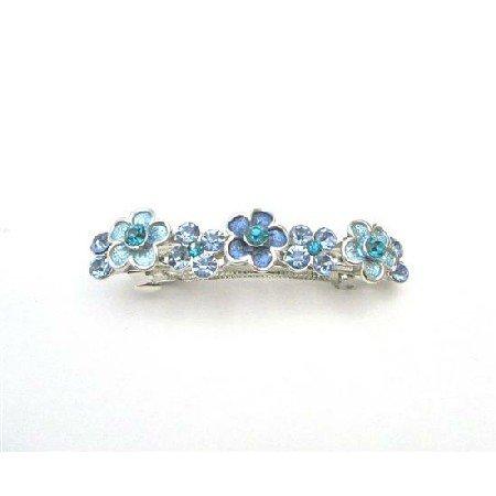 HA519  Filigree Blue Barrette Aquamarine Crystals Light & Dark Hair Barrette