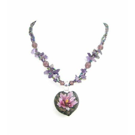 N814  Nature Jewelry Glass Pendant Amethyst Glass Beads & Nuggets Necklace