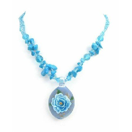 N818  Flower Painted Glass Pendant Prom Jewelry Turquoise Nugget Necklace
