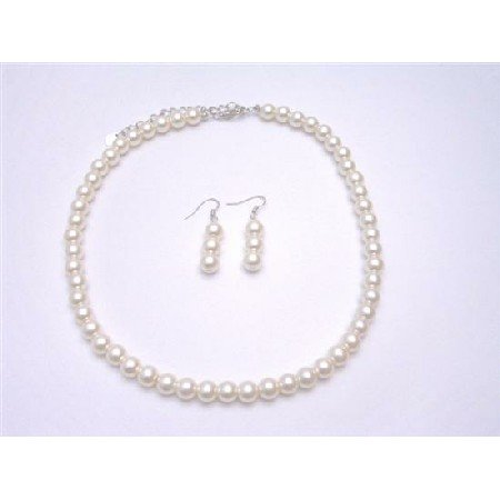 UNS002  Cream Choker Necklace Set 16 Inches Synthetic Pearls Jewelry Necklace Earrings Set