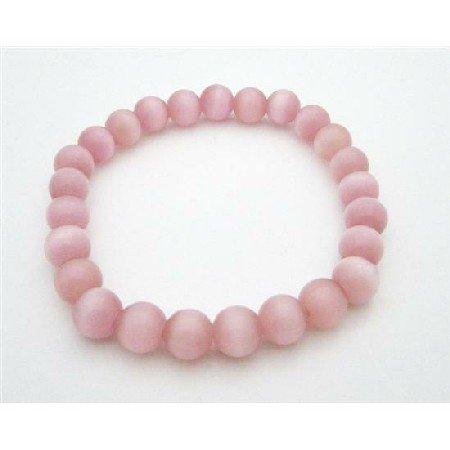 UBR203  Stylish Delicate Pink Cat Eye Stretchable Bracelet