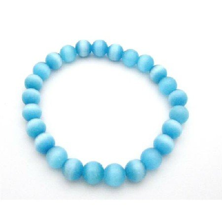 UBR206  Shine Blue Jewelry Cat Eye Stretchable Bracelet