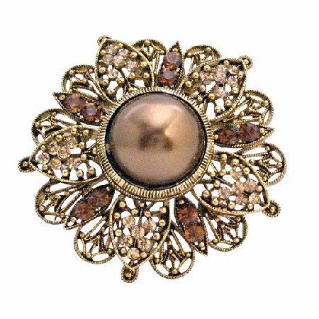 B177  Wedding Bridal Bridemaids Round Copper Gold Plated Brooch Gold Casting