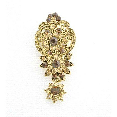 B401  Vintage Artistic Golden Formal Brooch Wedding Brooch