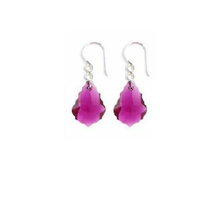 ERC630  Ruby Baroque Crystals Sterling 92.5 Hook Earrings