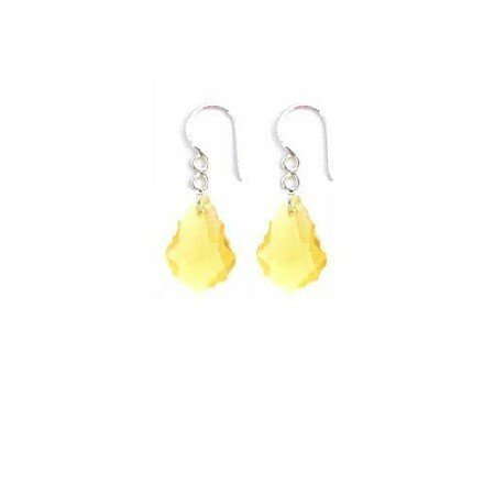 ERC632  Bridemaides Yellow Dress Jewelry Baroque Lite Smoked Crystals Earrings