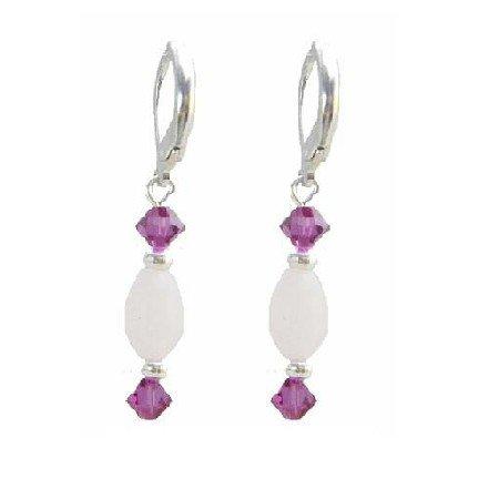 ERC638  Oval Barrel Rose Quartz Crystals With Fuschia Bicone Hoop Earrings