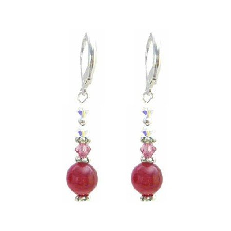 ERC639  Rose Crystals & AB Crystals Earrings w/ Multifaceted 10mm Rose Stone