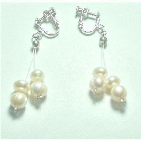 ERC642  Clip On Wedding Earrings Freshwater Pearls Earrings