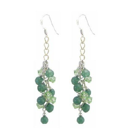 ERC643  Peridot Crystals With Jade Stone Affordable Under $10 Earrings