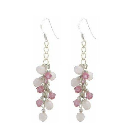 ERC644  Sterling Earrings With Rose Crystals & Rose Quartz Stone Earrings