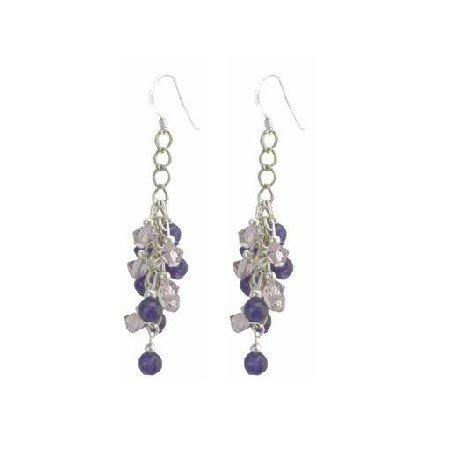 ERC645  Gorgeous Under $10 Earrings Lite Amethyst Crystals & Matt Amethyst