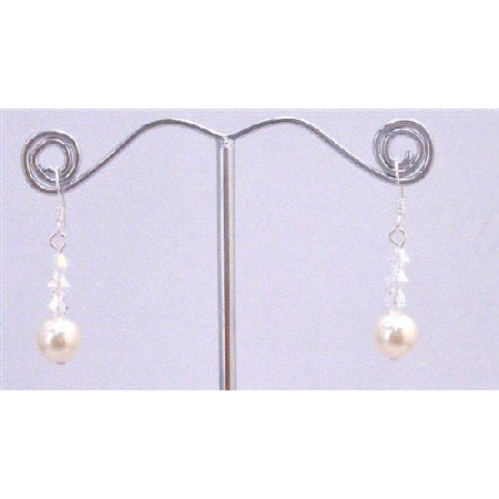ERC647  Ivory Swarovski Pearls AB Crystals Cute Earrings 92.5 Earrings