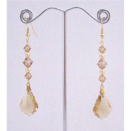 ERC648  Lite Colorado Baroque Pendant Gold Pearls In Gold Hook Earrings
