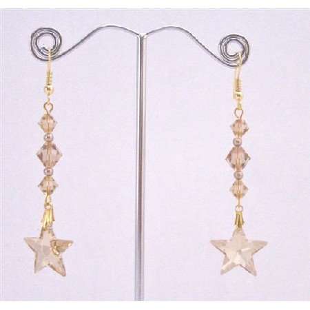 ERC649  Golden Shadow Star Earrings With Lite Colorado Bicone Bead Earrings