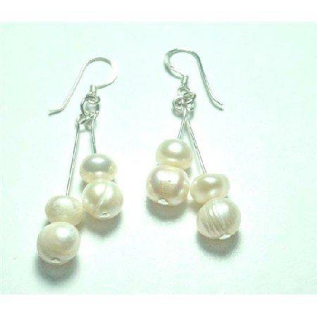 ERC651  Affordable Adorable Earrings Freshwater Pearls Sterling Hook Earrings