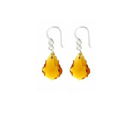 ERC652  Earring Match Yellow Dress Topaz Baroque Crystals Earrings