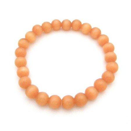 UBR204  Pumpkin Orange Bracelet Cat Eye Stretchable Bracelet Jewelry