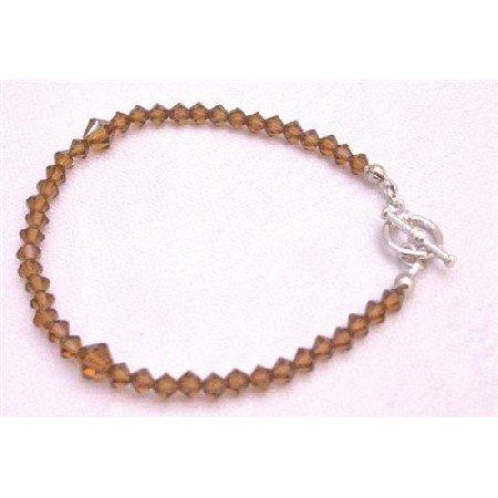 TB876  Brown Dress Smoked Topaz Crystals Bracelet Wedding Jewelry
