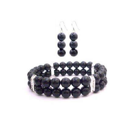 TB920  Double Stranded Black Pearls Bracelet Earrings Wedding Gift Jewelry