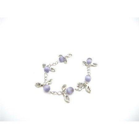 TB921  Wedding Gift Purple Cat Faceted Leaves Charm Leave Bracelet Stunning chain Bracelet