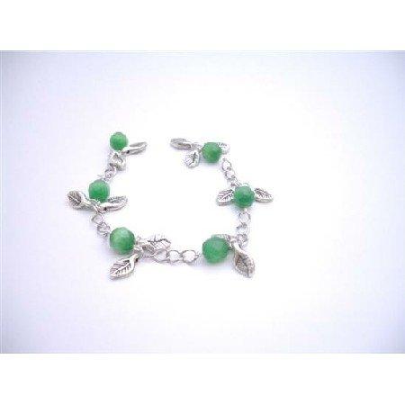 TB924  Jade Stone Bracelet Faceted 8mm Jade Cat Eye Bracelet Dangling Bracelet