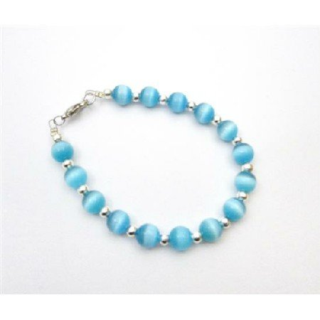 TB925  Round Faceted 8mm Blue Cat Eye With Silver Beads Bracelet Bridal Gift Flower Girl Jewelry