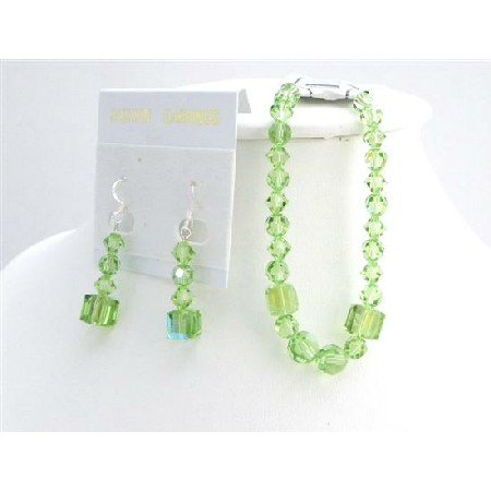 TB927  Swarovski Wedding Gift of Peridot Crystals Bracelet & Earrings Bridemaids Affordable Jewelry