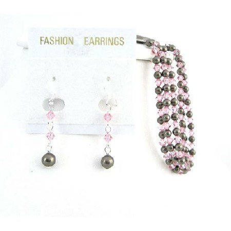 TB928 Wedding Accessories Brown Chocolate Pearls Bracelet With Rose Crystals w/ Matching Earrings