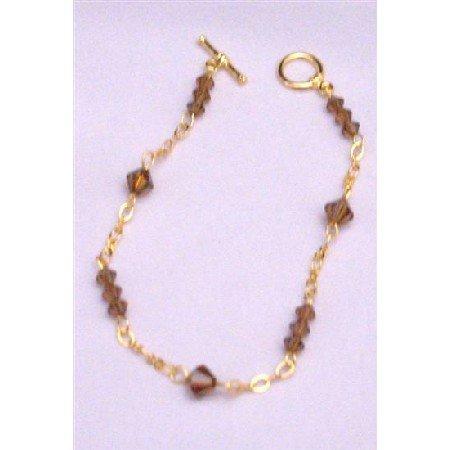 TB929  22k Gold Plated Smoked Topaz Crystals Bracelet Gold Bracelet